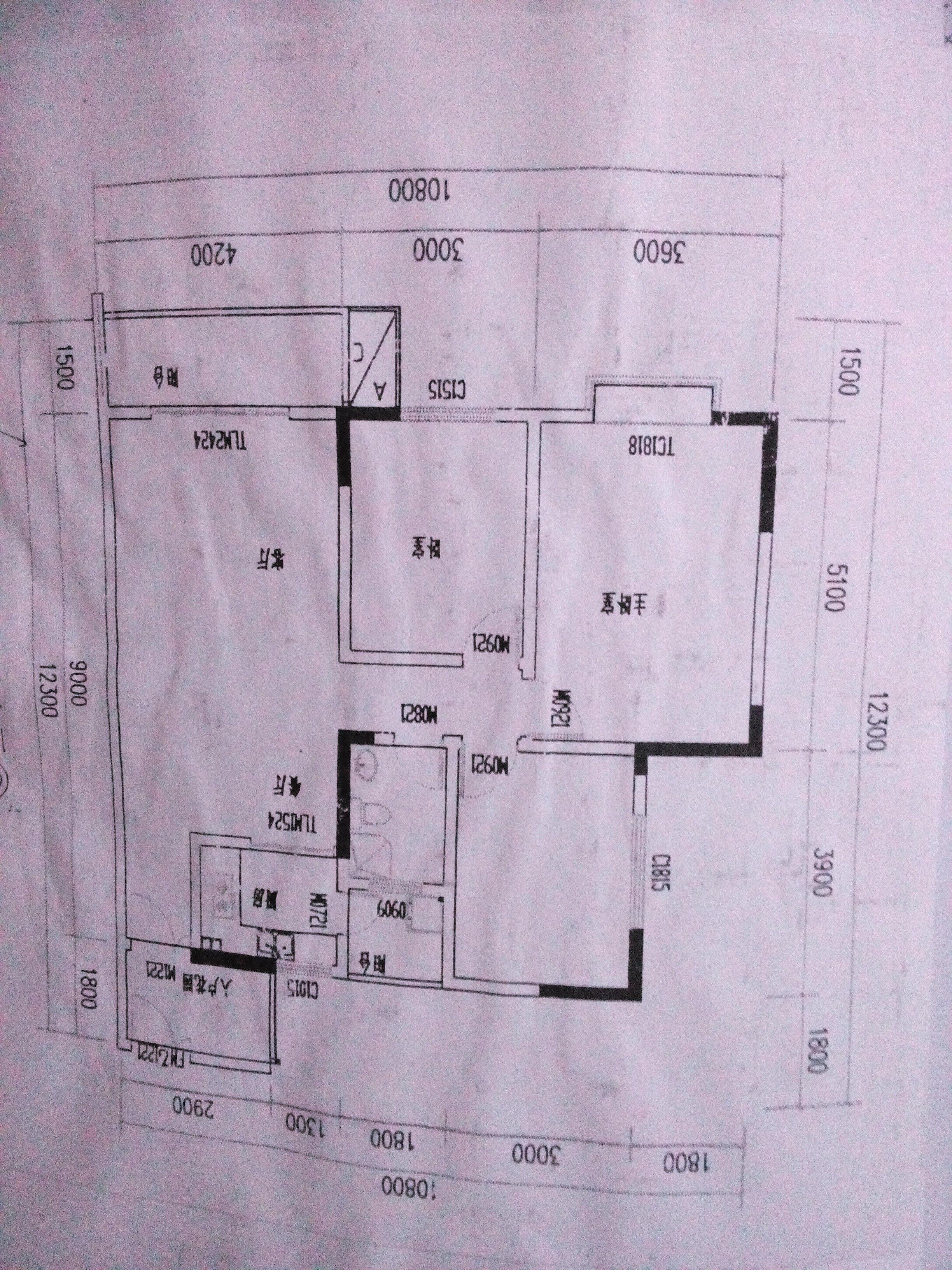 农村三室一厅一厨一卫一层平面设计图,地基12长,宽8一图片