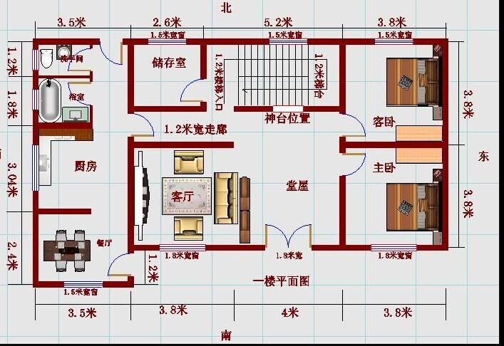 跪求一个长12米 宽7米的住房二层室内设计图 要求三个图片
