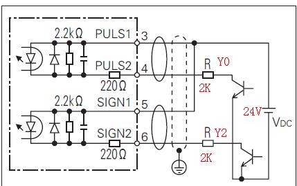 三菱PLC和松下伺服驱动怎么接线的呢 主要是脉冲和方向