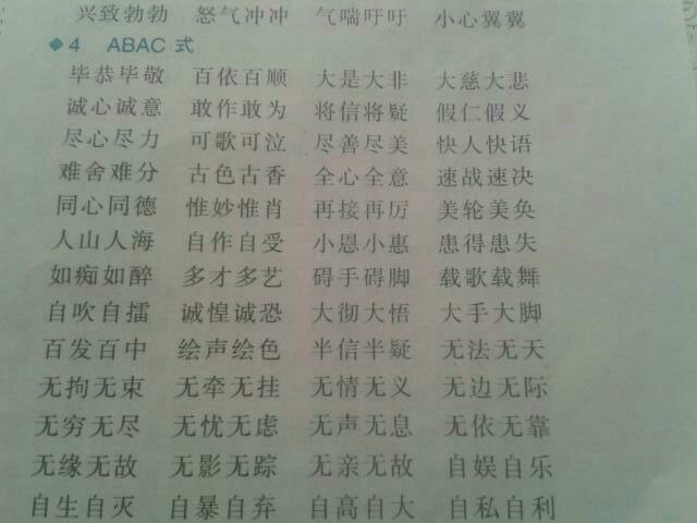 请写三个abac的词语.