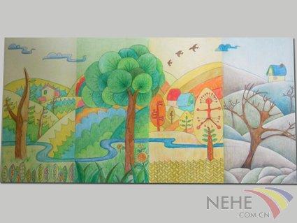 风景彩色铅笔画