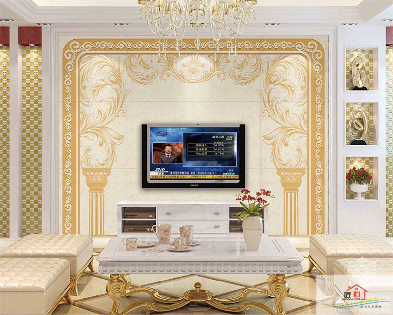 重庆简欧大理石电视背景墙图片