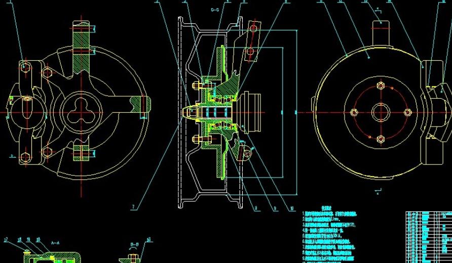 求 浮钳盘式制动器cad图装配图零件图