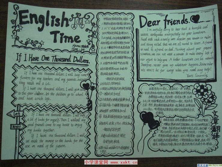 英语手抄报,绿色校园,绿色生活 小学六年级学生英语小报 手高清图片