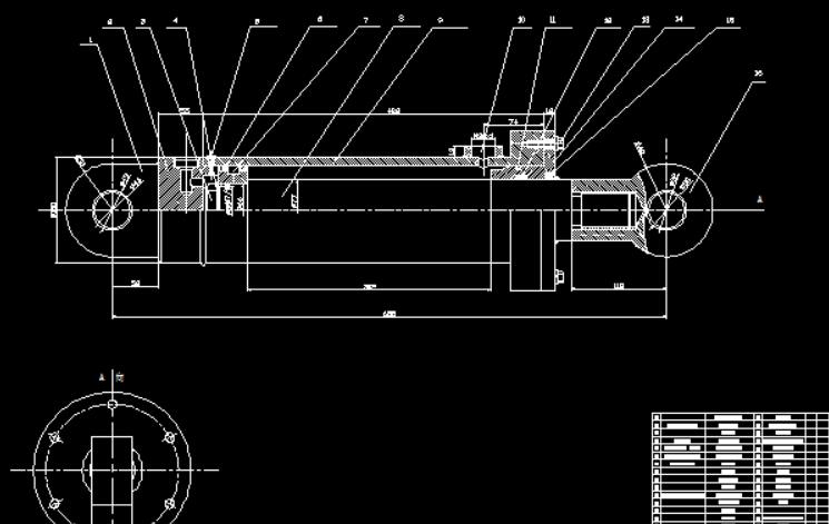 求一份双作用单活塞杆液压缸cad零件图和装配图图片