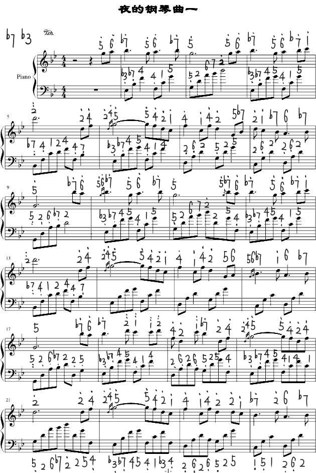 跪求夜的钢琴曲一简谱.各位麻烦翻译一下也行图片
