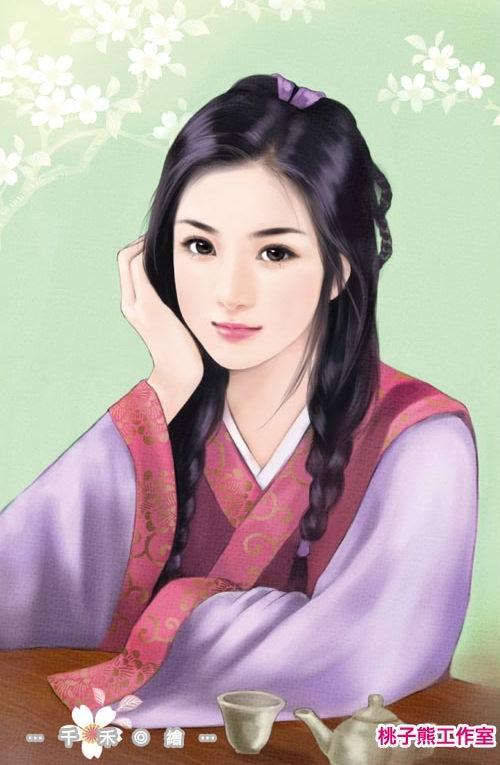 求一张喝茶的古典手绘美女图片