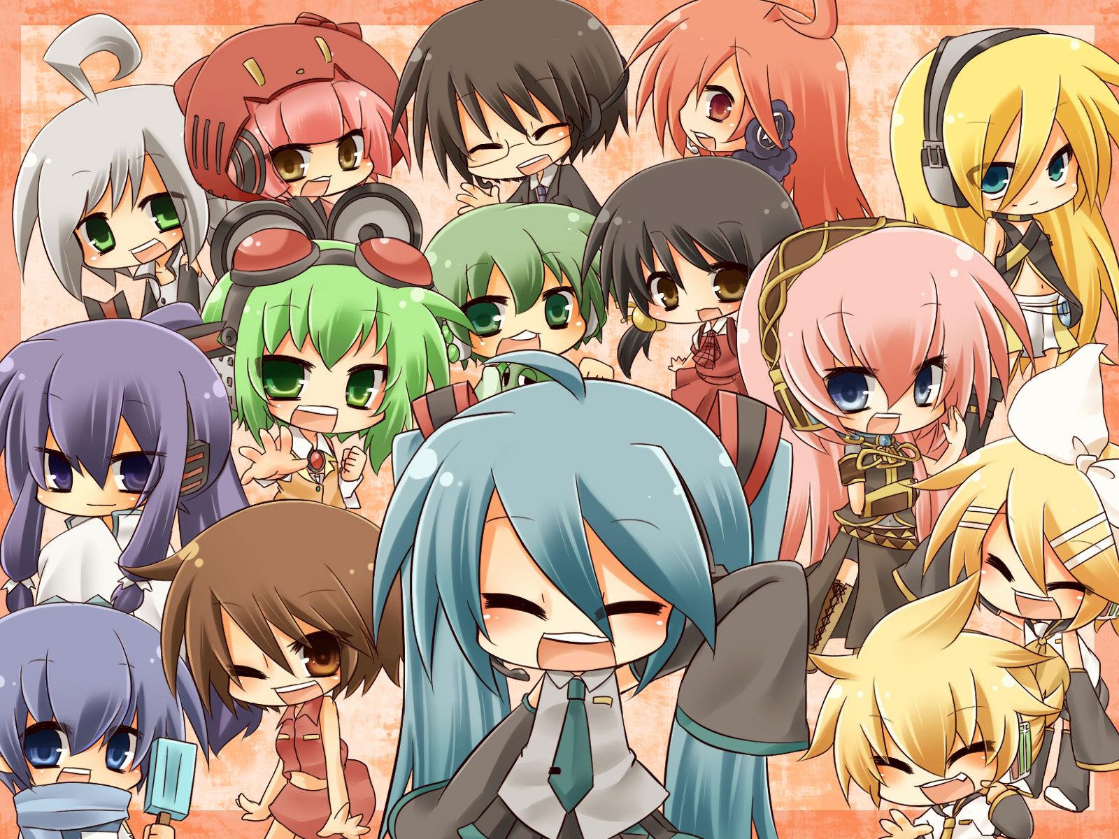Vocaloid Chibi Group Wallpaper 求v家q版图片_百�...