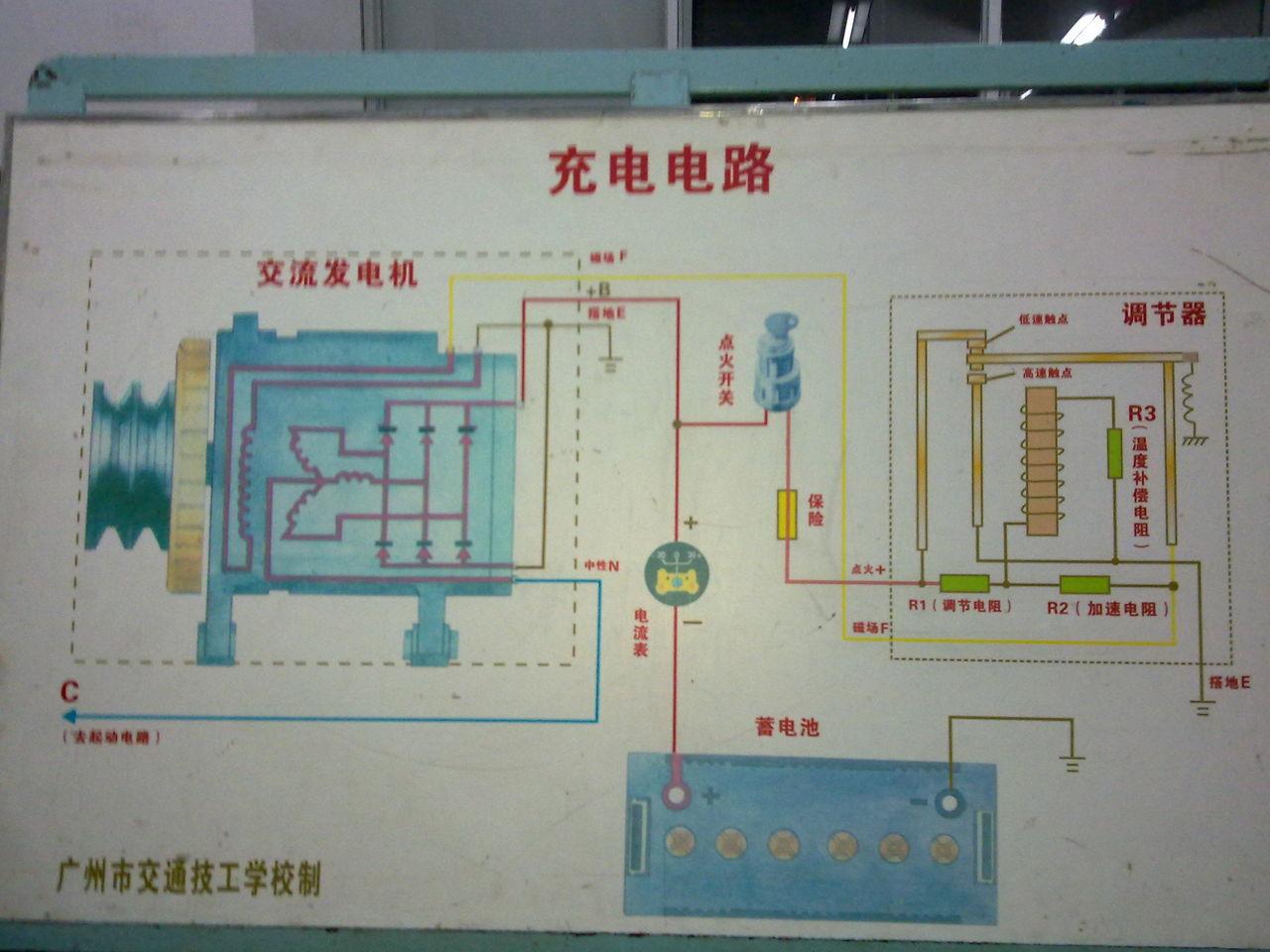 图中汽车发电机工作原理.他励 自励.第一级调节.第二级调节高清图片