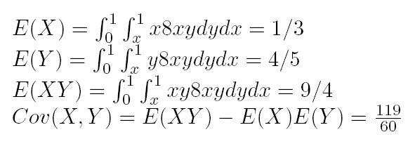 f(x,y)=8xy,cov(x,y)