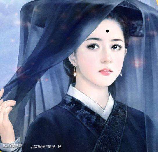 古代女子丹青,要眉间有痣的图片