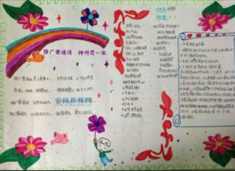 推广普通话描绘中国梦的字少好画的手抄报
