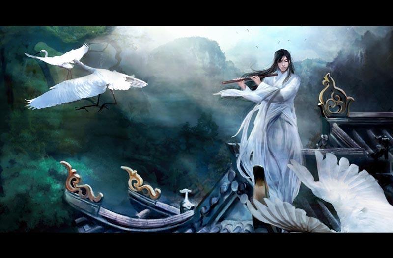 一个古代男子的白色背影站在山顶上吹着图片