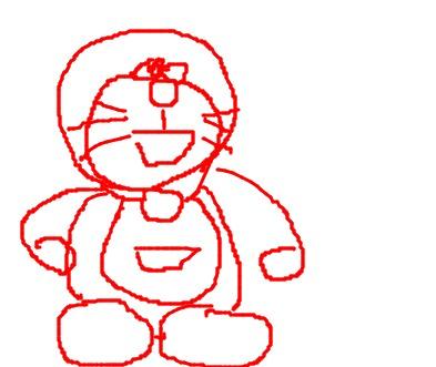 机器猫简笔画彩色