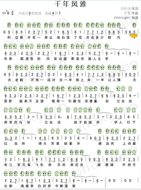 陶笛6孔曲谱