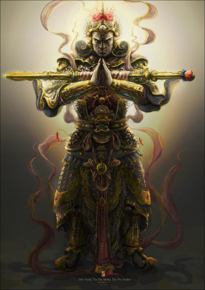 假如韦陀的金刚杵是横放在手臂上的表示这个寺庙是十方丛林制的,游僧