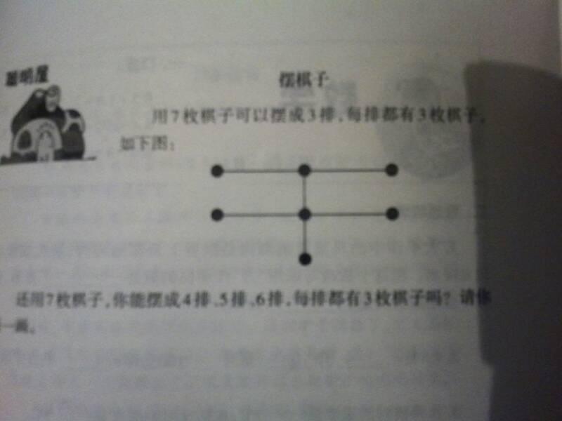 用7枚棋子可以摆成(如图)3排图片