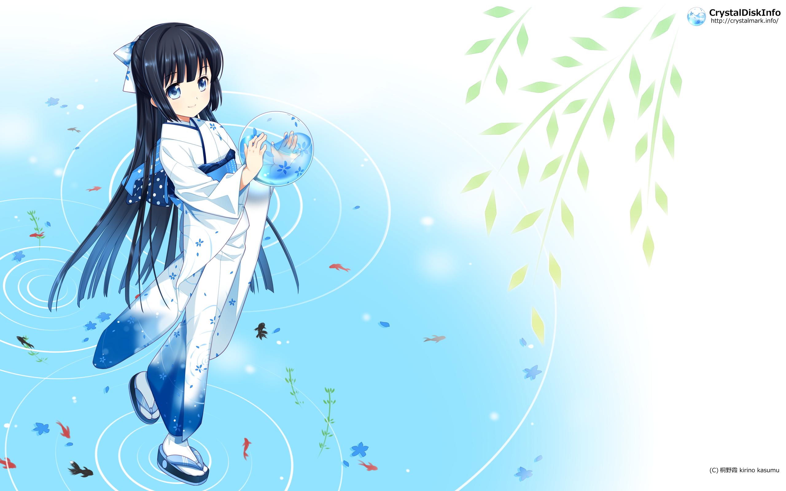 求一张日本动漫图片 一个蓝色长发女孩子穿着和服