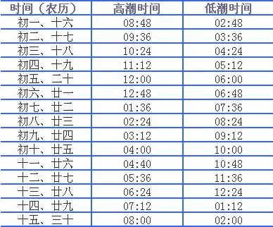 2011年大连庄河潮汐表