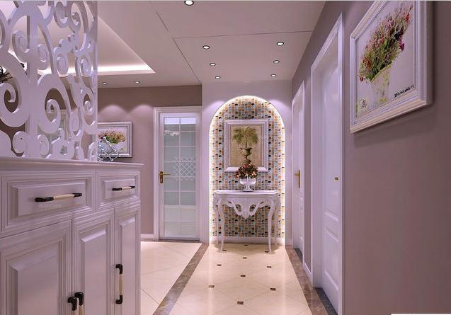 白色的鞋柜,白色镂空雕花板的隔断装修,大理石线条与白色瓷砖拼花设计图片