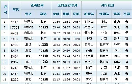 廊坊北站到北京南站几点有车?