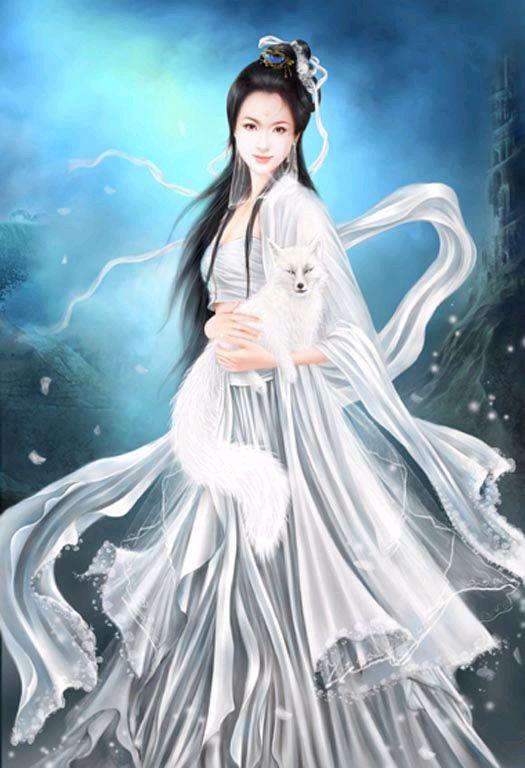 找手绘古装美女 白衣 长发