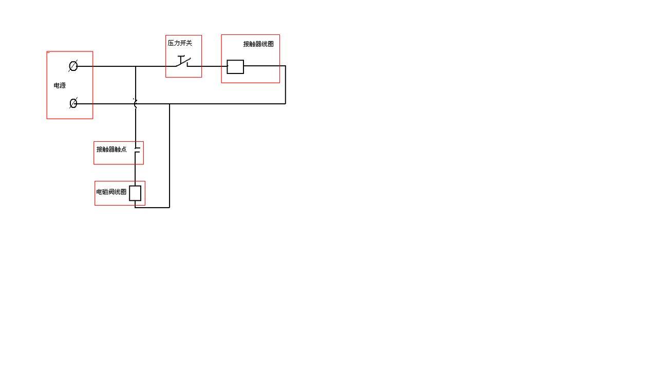 一个压力控制开关,一个电磁阀,两种工作模式,求空压机接线实物图,谢谢图片
