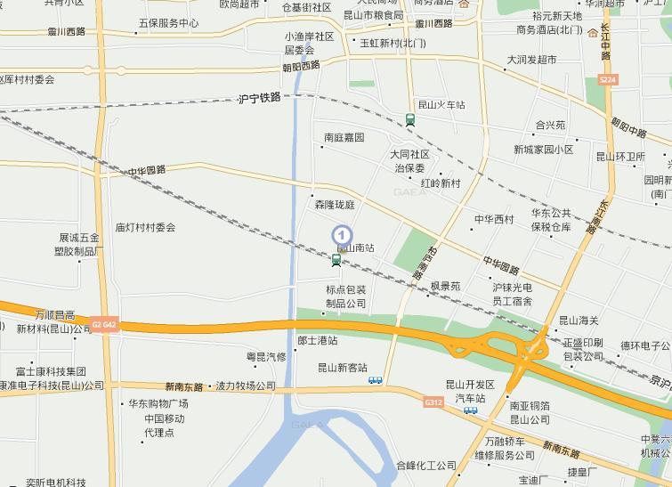 州市 沪宁高铁昆山南站 在哪,为什么百度地图上没有高清图片
