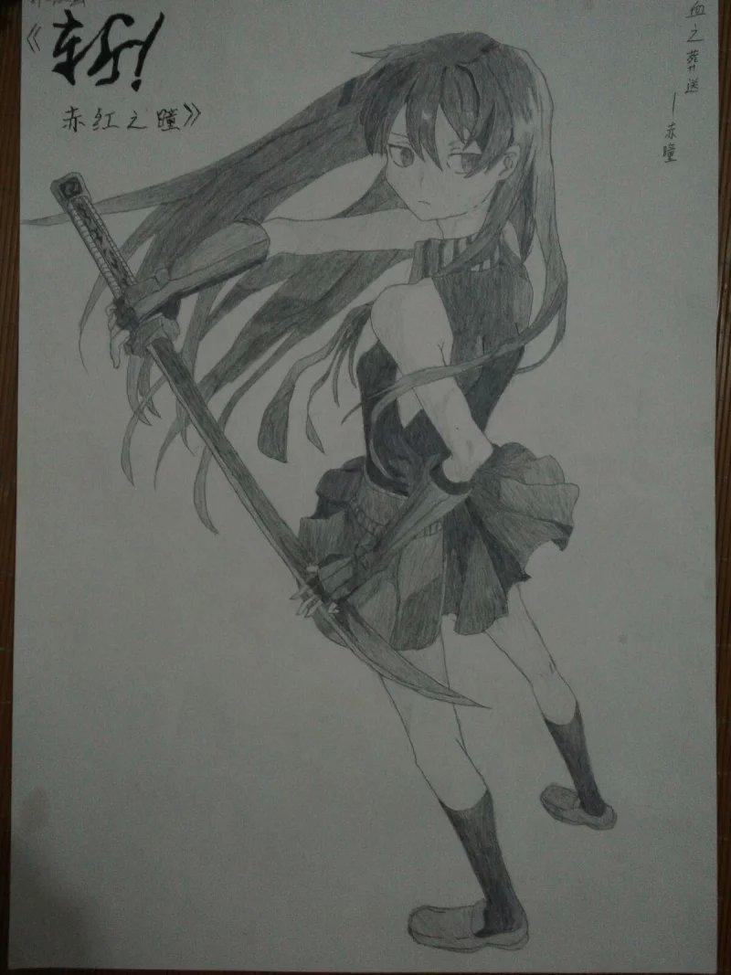 黑白铅笔画女生简单图片图片