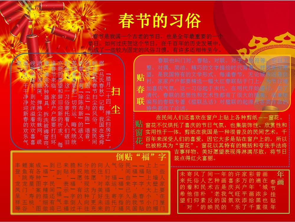求《过年了》的手抄报,(图片)要求:红红火火图片