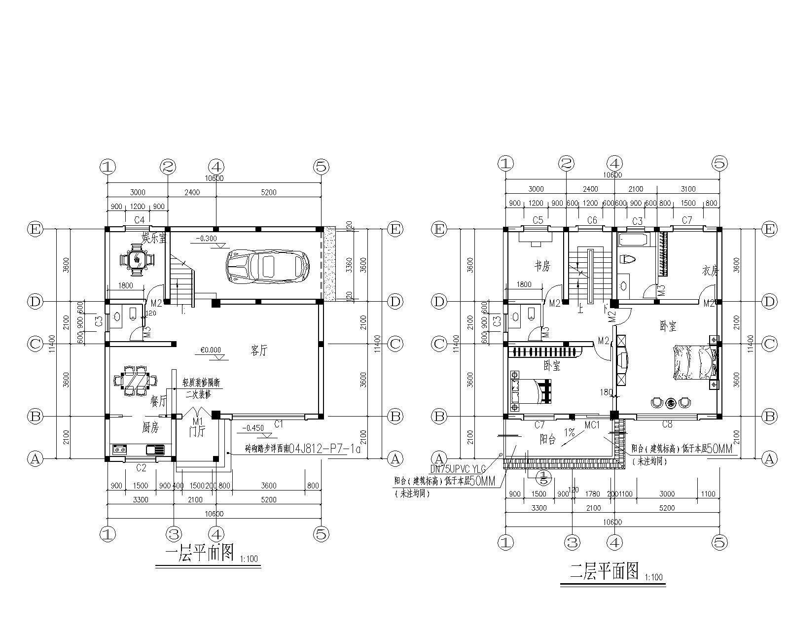 三间两层楼房设计图纸