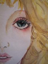 手绘女生半边脸的图片图片
