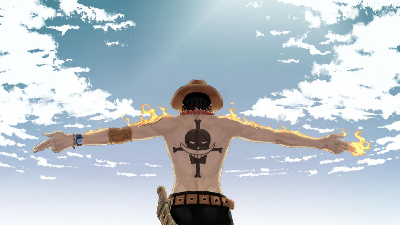 海贼王的火拳艾斯的背影与晴空的桌面壁纸 最好是1920 1080 百度知道