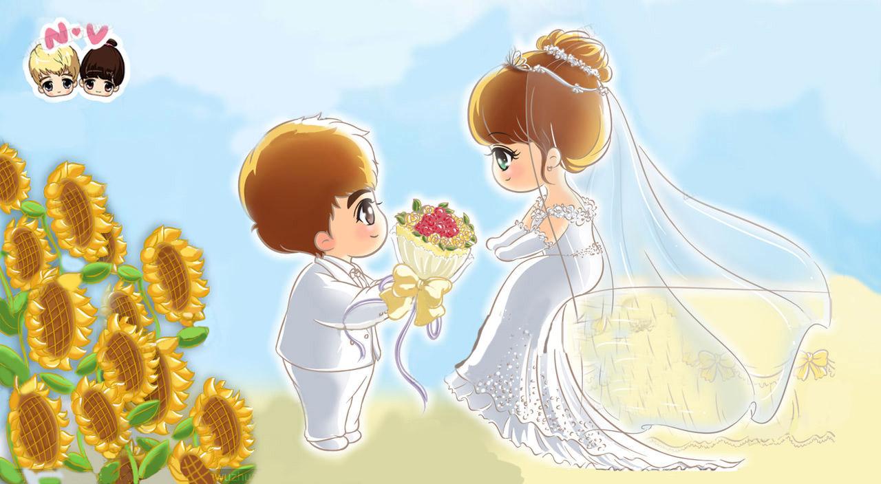 求个维尼夫妇的q版婚纱照原图无水印