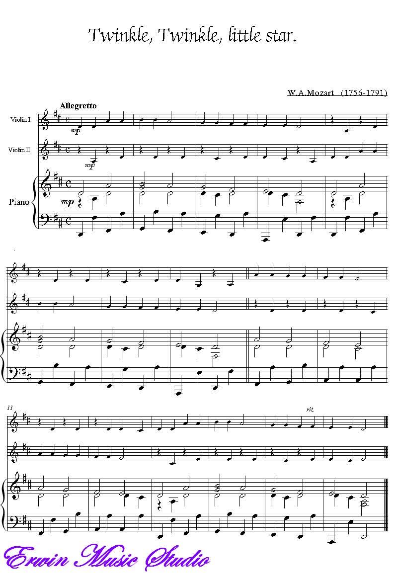 小提琴独奏钢琴伴奏小星星图片