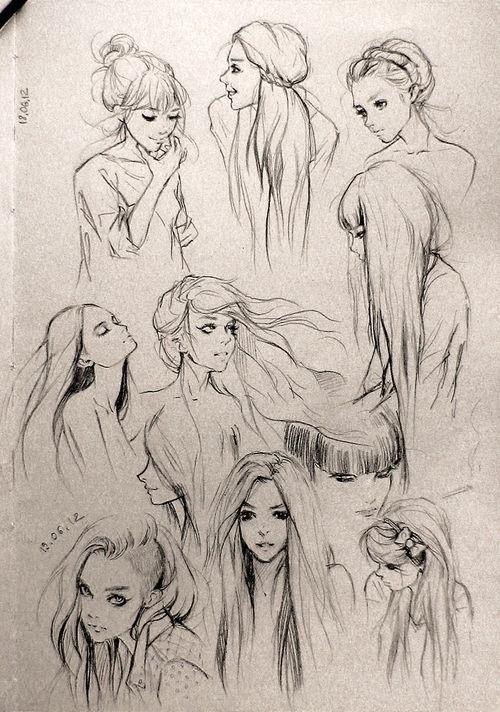 素描人物头发怎么画?图片