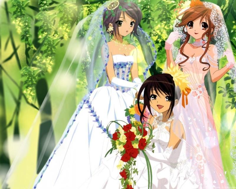 【【求穿婚纱的新娘的动漫图图片