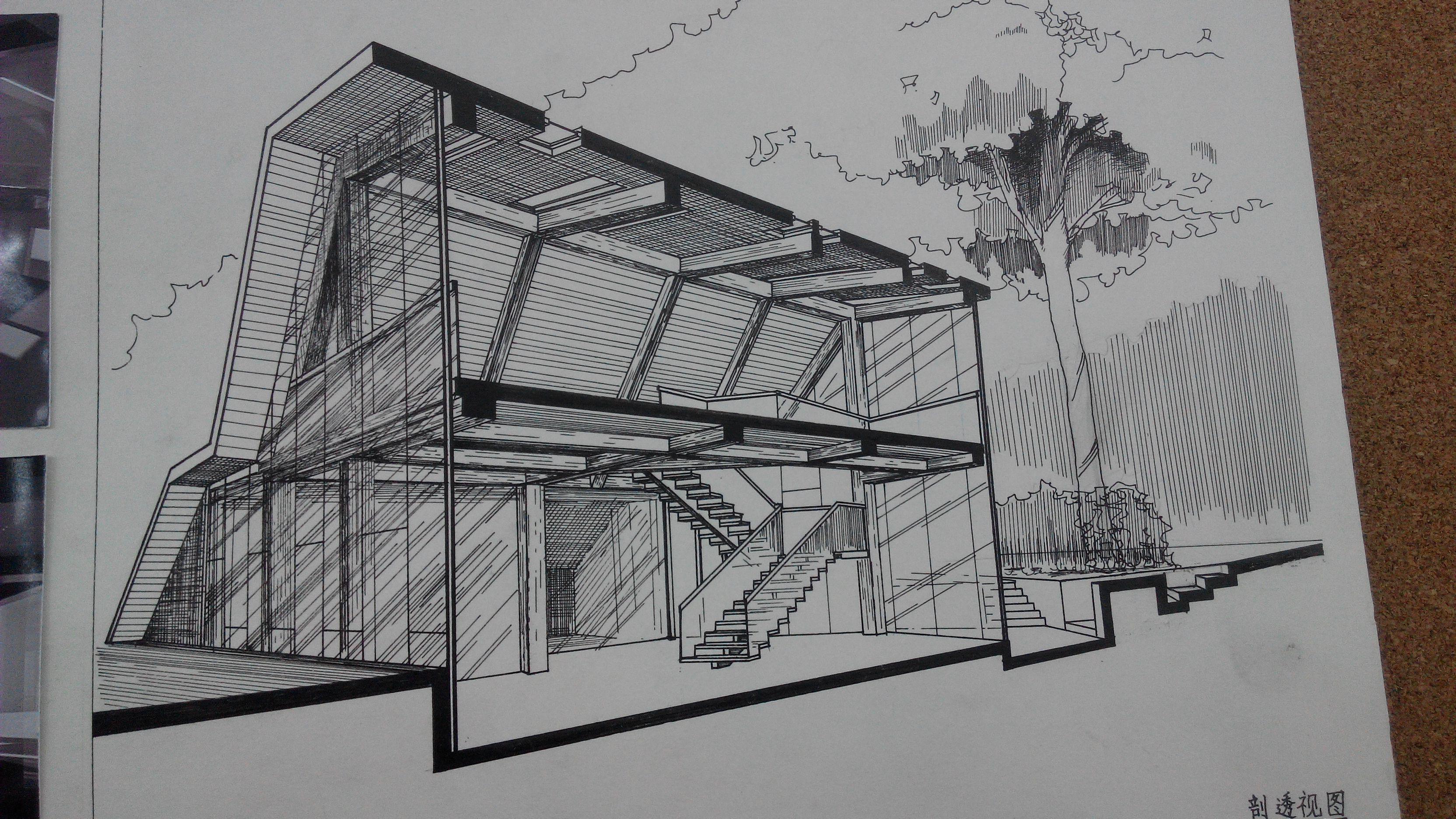 建筑中用尺子和针管笔画出来的透视图并带阴影渐变的是叫什么图图片