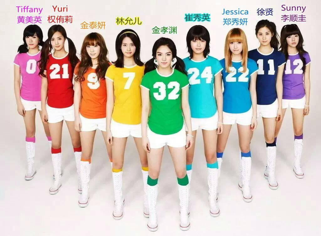 少女时代各成员的图片加名字