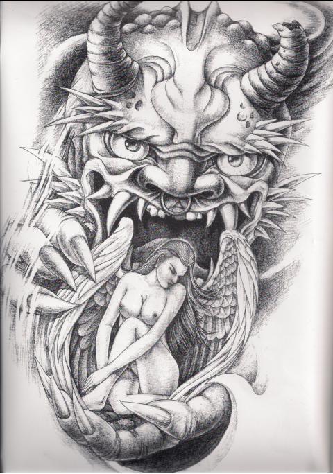求一张恶魔吃天使的纹身图案图片