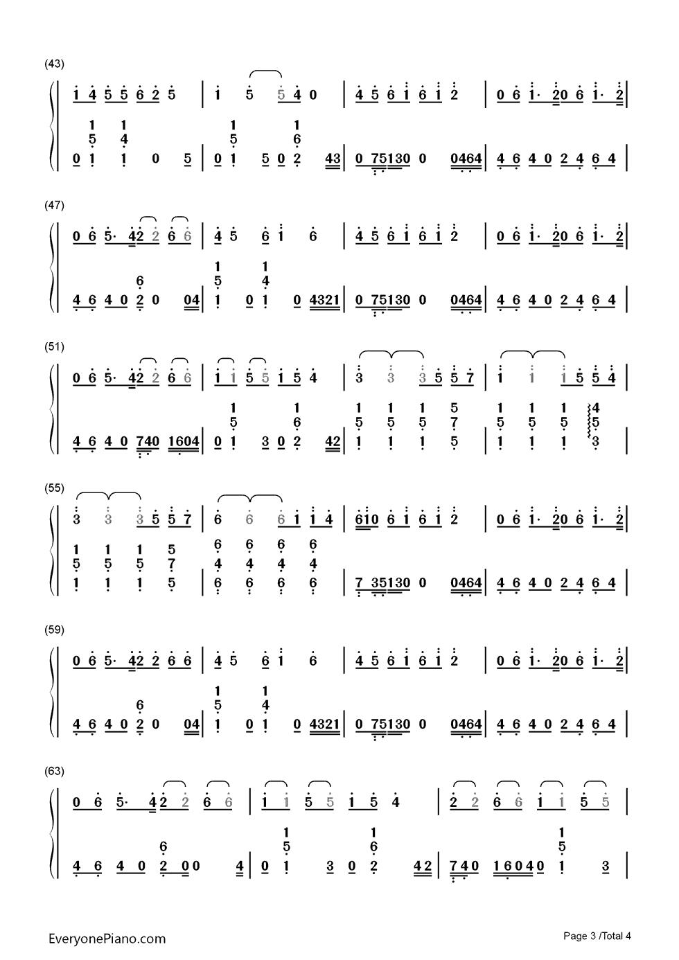 年轮钢琴简谱数字左右手图片