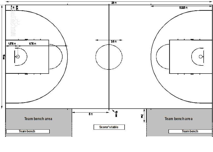 篮球场画线图片