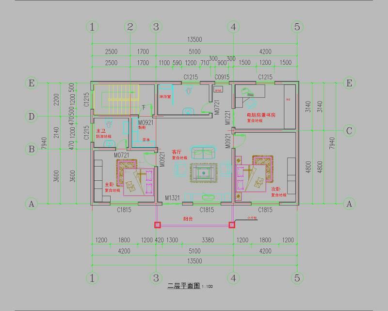 农村13x4米长方形房子设计图