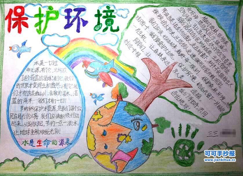 保护环境的手抄报,字一定要特别特别清楚.