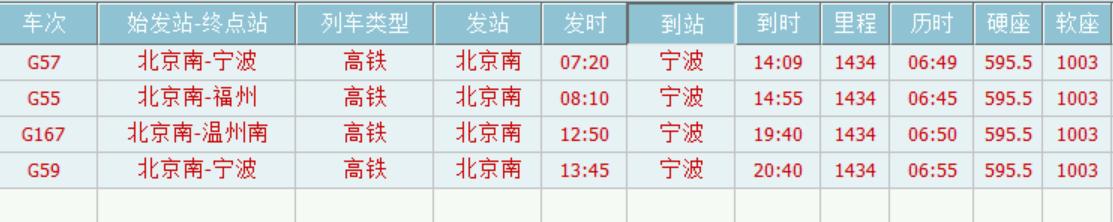 北京到宁波普通火车票