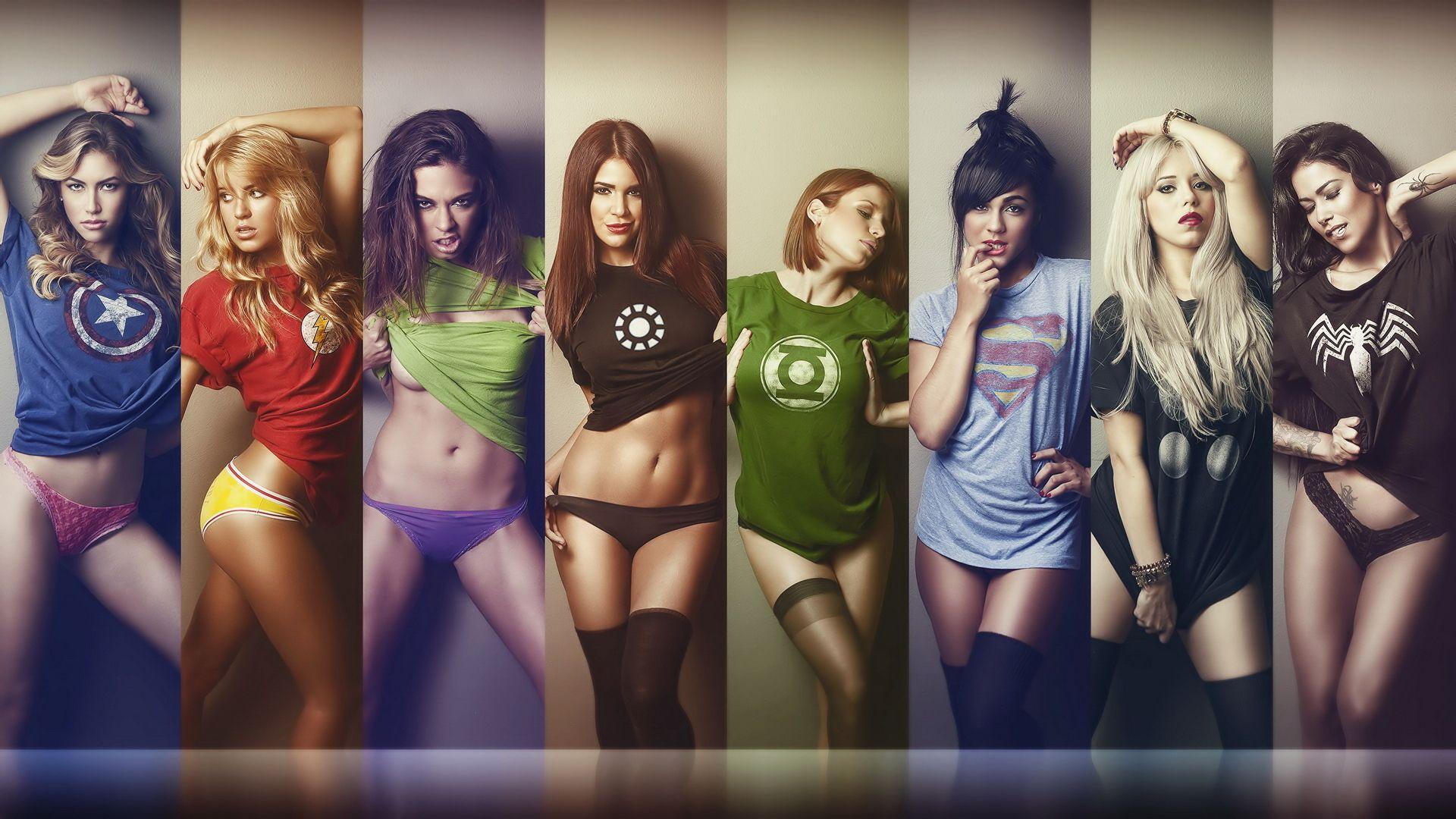 几个美女穿英雄衣服的图