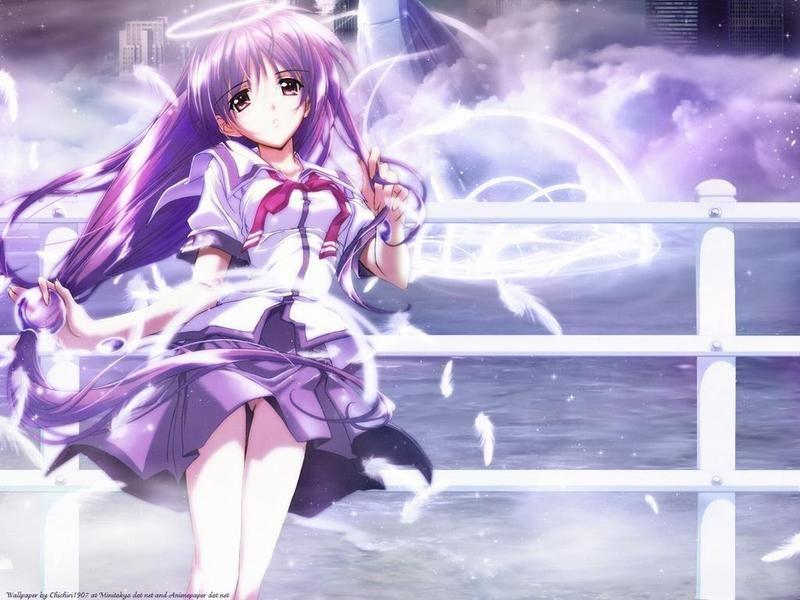 紫发紫瞳动漫美女