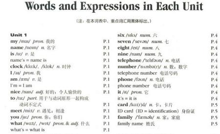 新目标七年级上册英语课本的单词表中所有的短语图片