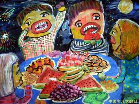 谁有画中秋一家人团聚吃月饼的画啊谢谢啊