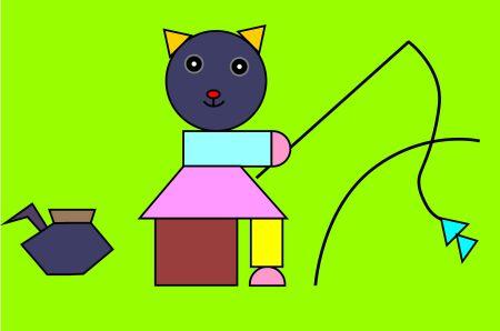 这幅图画的是( ).图中有( )个三角形,有( )个长方形,有( )个圆.图片